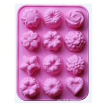 12 Cavity Flowers Silicone Non-Stick, Cake Bread Mold, Chocolate Jelly, Candy Baking Mould